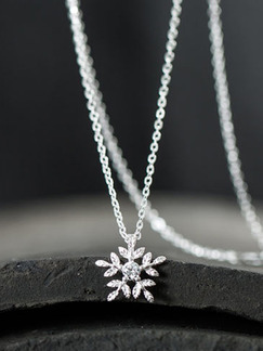 925 Silver With Chain Silver Chain Snowflake Single Stone Rhinestone Pendant