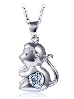 925 Silver  With Chain Silver Chain Monkey Rhinestone Pendant