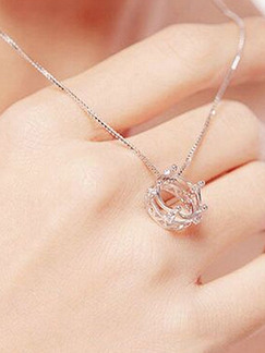 925 Silver With Chain Silver Chain Crown Rhinestone Pendant