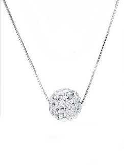 925 Silver With Chain Silver Chain Rhinestone Necklace