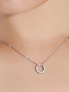 925 Silver With Chain Silver Chain Ring Rhinestone Pendant
