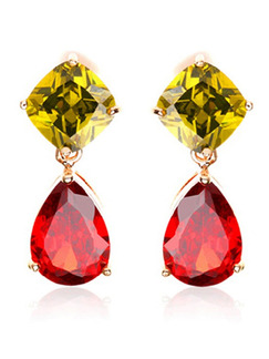 Gold Plated Dangle Crystal Stud