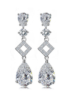 Silver Plated Dangle Rhinestone Stud