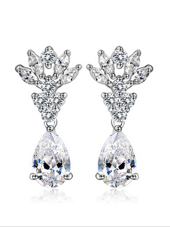 Silver Plated Dangle Rhinestone Earring