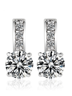 Silver Plated Single Stone Rhinestone Stud