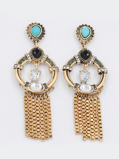 Gold Plated Dangle Tassel Rhinestone Turquoise Stud