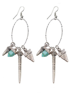 Silver Plated Dangle Hook Turquoise Earring