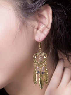 Gold Plated Dangle Hook Square  Earring
