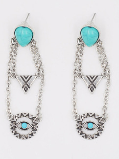 Silver Plated Dangle Turquoise Stud