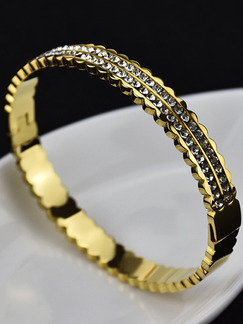 Gold Plated Tennis Rhinestone Bangle