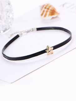 Leather With Chain Silver Chain Choker Love Star  Necklace