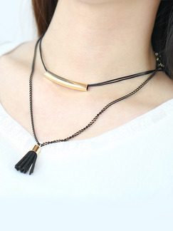 Gold Plated With Chain Gold Chain Tassel Necklace
