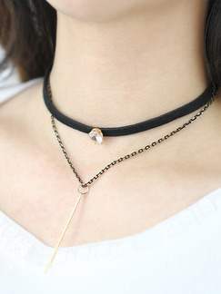 Leather With Chain Silver Chain Choker Rhinestone Necklace