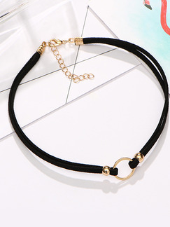 Leather With Chain Gold Chain Choker Ring  Necklace