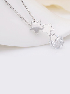 925 Silver Star Single Stone Rhinestone Pendant