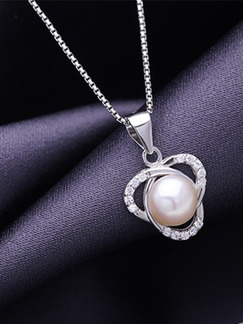 925 Silver Bead Rhinestone and Pearl Pendant