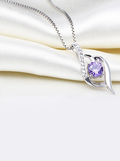 925 Silver Single Stone Rhinestone Crystal Pendant