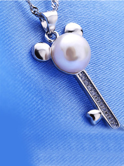 925 Silver Bead Key Rhinestone and Pearl Pendant