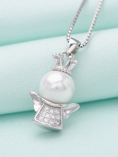 925 Silver Bead Angel Rhinestone and Pearl Pendant