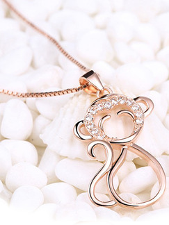 Gold Plated Monkey Rhinestone Pendant