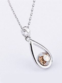 Silver Plated With Chain Silver Chain Drop Crystal Pendant