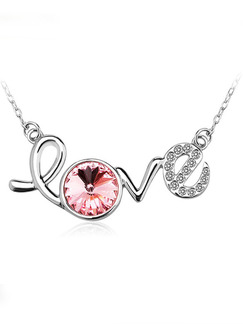 Silver Plated With Chain Silver Chain Love Rhinestone Crystal Pendant