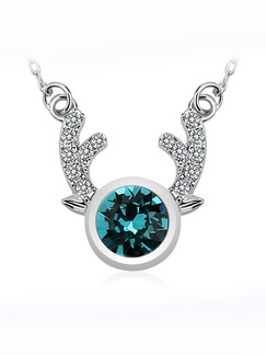 Silver Plated With Chain Silver Chain Single Stone Rhinestone Sapphire Crystal Pendant