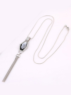 Silver Plated With Chain Silver Chain Tassel Single Stone Crystal Rhinestone Necklace