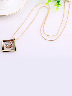 Gold Plated With Chain Gold Chain Square Single Stone Rhinestone Pendant