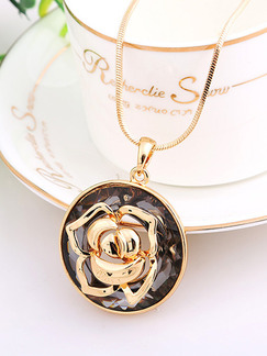 Gold Plated With Chain Gold Chain Flower Pendant