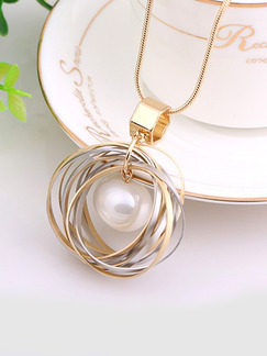 Gold Plated With Chain Gold Chain Ring Bead Pearl Pendant