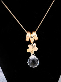 Gold Plated With Chain Gold Chain Single Stone Rhinestone Pendant