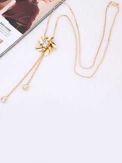 Gold Plated With Chain Gold Chain Drop Rhinestone Necklace
