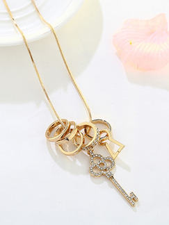 Gold Plated With Chain Gold Chain Key Ring Rhinestone Necklace