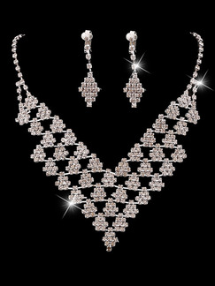 Silver Plated With Chain Silver Chain and Earrings Bib Rhinestone Necklace