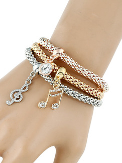 Silver and Gold Plated Bangle Charm Rhinestone Bracelet