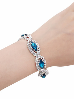 Silver Plated Link Rhinestone Sapphire Bracelet