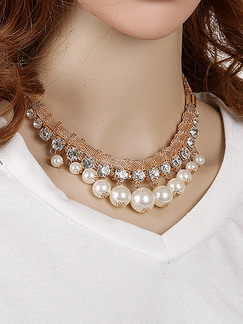 Gold Plated With Chain Gold Chain Collar Bead Bib Rhinestone and Pearl Necklace