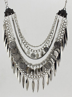 Silver Plated With Chain Silver Chain Bib Necklace