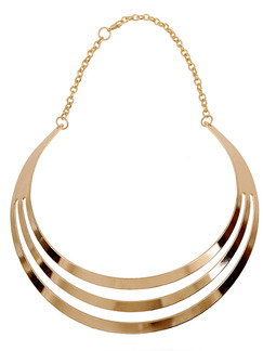 Gold Plated With Chain Gold Chain Triple Collar Necklace