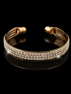 Gold Plated Cuff Rhinestone Bangle