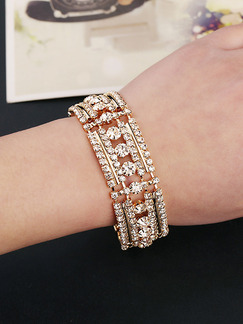Gold Plated Link Rhinestone Bangle