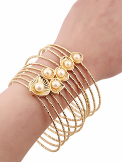 Gold Plated Multi Strand Bead Pearl Bangle
