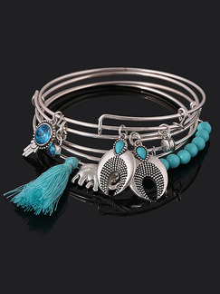 Silver Plated Multi Strand Tassel Charm Turquoise Bangle