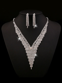 Silver Plated With Chain and Earrings Dangle Bib Rhinestone Necklace