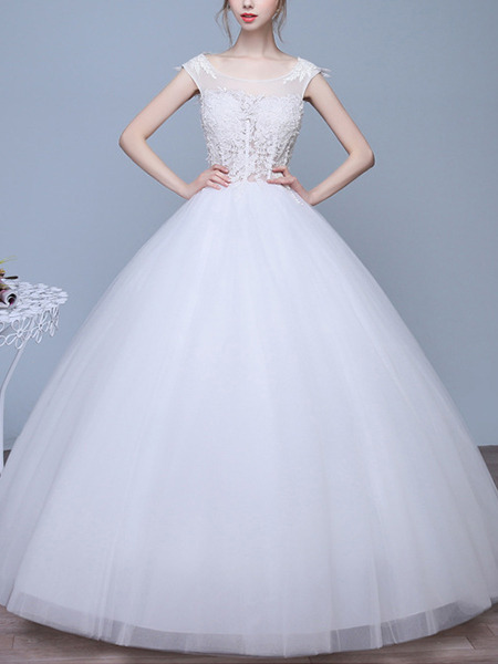 White Bateau Ball Gown Lace Dress for Wedding