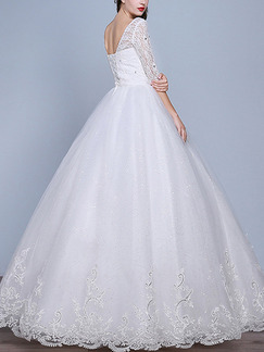 White Bateau A-Line Lace Embroidery Dress for Wedding