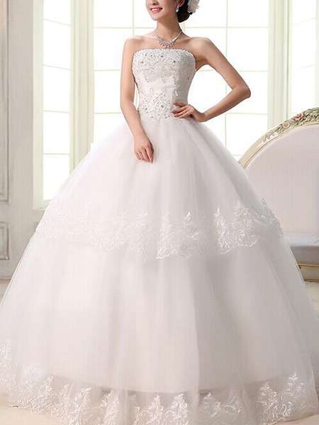 Wedding Dress For   Ph : White strapless ball gown beading embroidery dress for