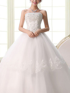 White Strapless Ball Gown Beading Embroidery Dress for Wedding