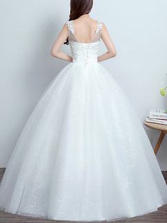 White Illusion Bateau A-Line Dress for Wedding